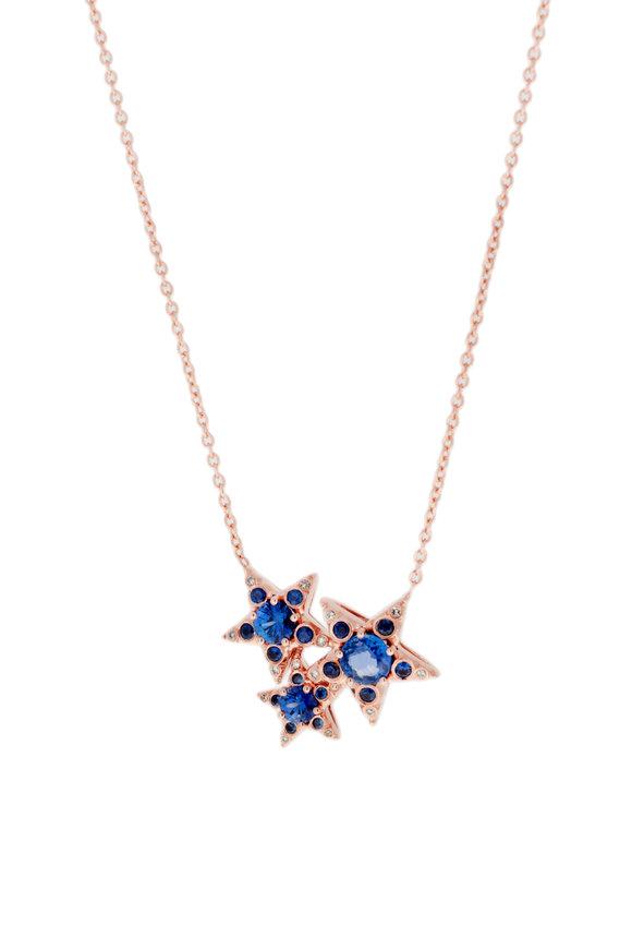 Selim Mouzannar 18K Rose Gold Sapphire & Diamond Stars Necklace
