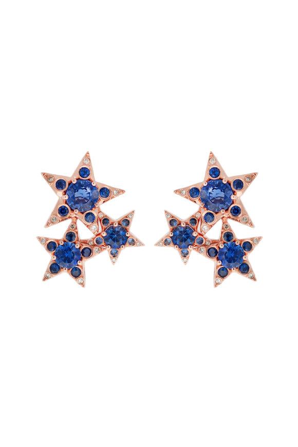 Selim Mouzannar 18K Rose Gold Sapphire & Diamond Stars Earrings