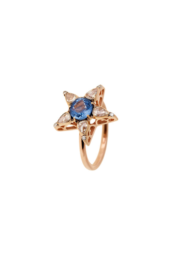 Selim Mouzannar 18K Rose Gold Sapphire Star Ring