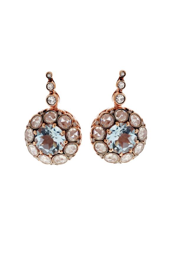 Selim Mouzannar 18K Rose Gold Aquamarine  & Diamond Earrings