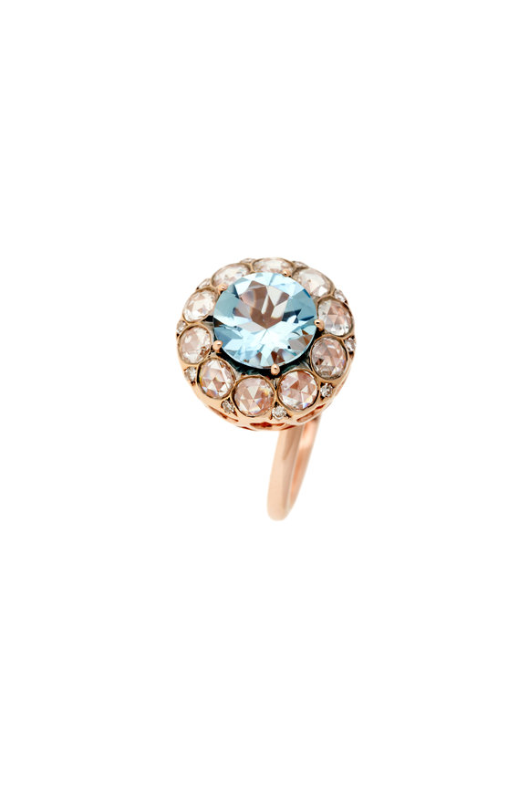 Selim Mouzannar 18K Rose Gold Aquamarine Ring