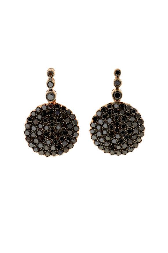 Selim Mouzannar 18K Rose Gold Black Diamond Earrings