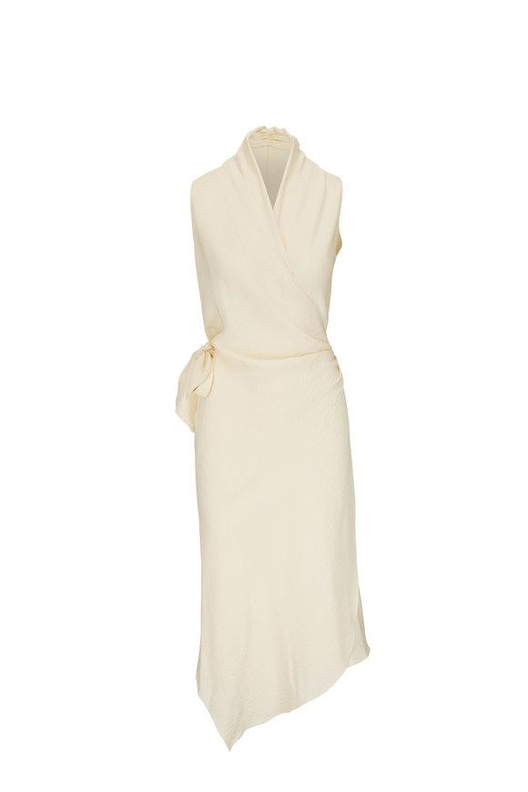 Peter Cohen Victor Ivory Hammered Silk Sleeveless Wrap Dress