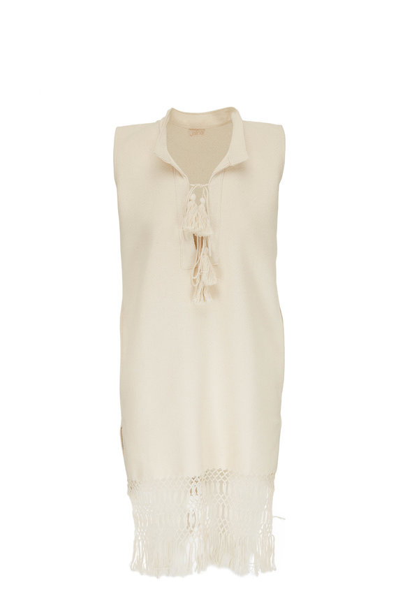 Jaline Harper Cream Crochet Hem Sleeveless Dress