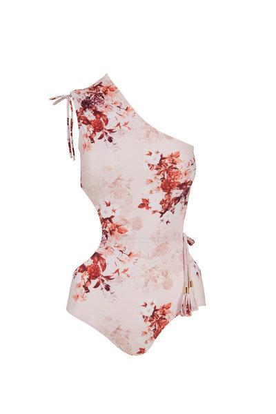 Sinesia Karol - Jade Pink Floral One-Shoulder Swim Suit