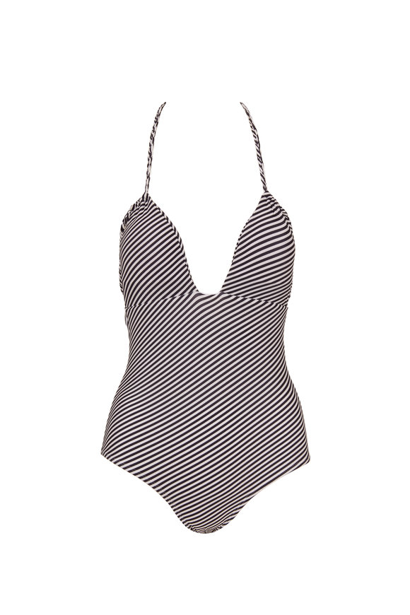Sinesia Karol Jessica Black & White Striped Halter Suit