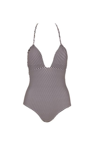 Sinesia Karol - Jessica Black & White Striped Halter Suit