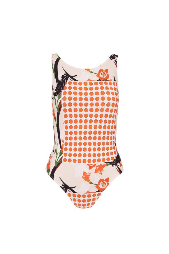 Sinesia Karol Teodora Orange Dot Swim Suit