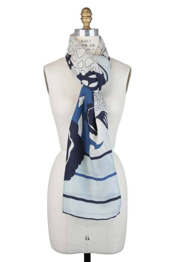 Rani Arabella Blue Floral Print Cashmere, Silk & Wool Scarf