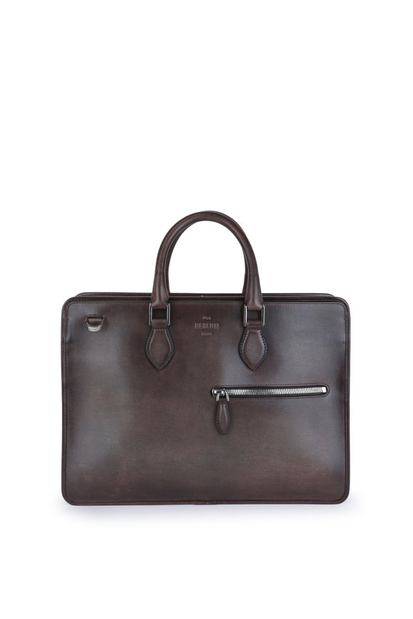 Berluti Un Jour Ice Brown Leather Briefcase