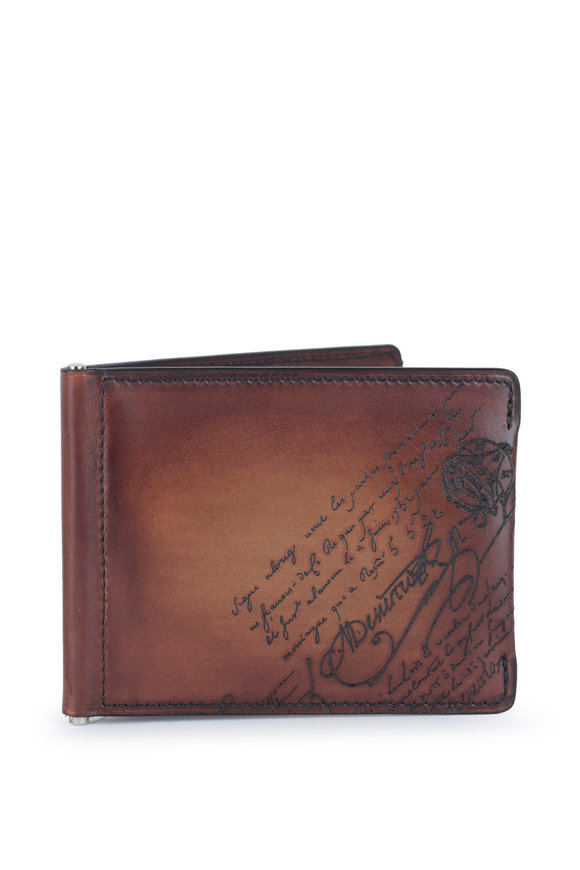 Berluti Figure Scritto Brown Leather Bi-Fold Wallet