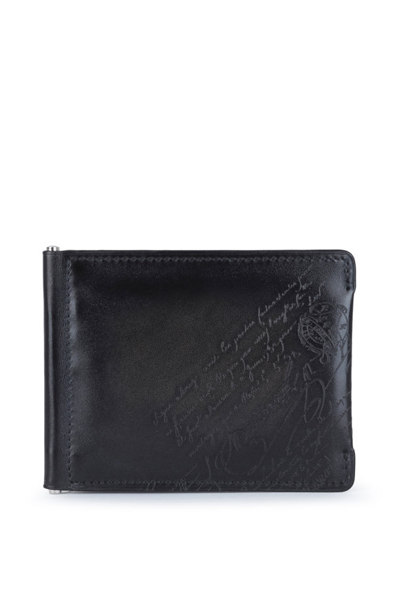 Berluti Figure Scritto Black Leather Bi-Fold Wallet