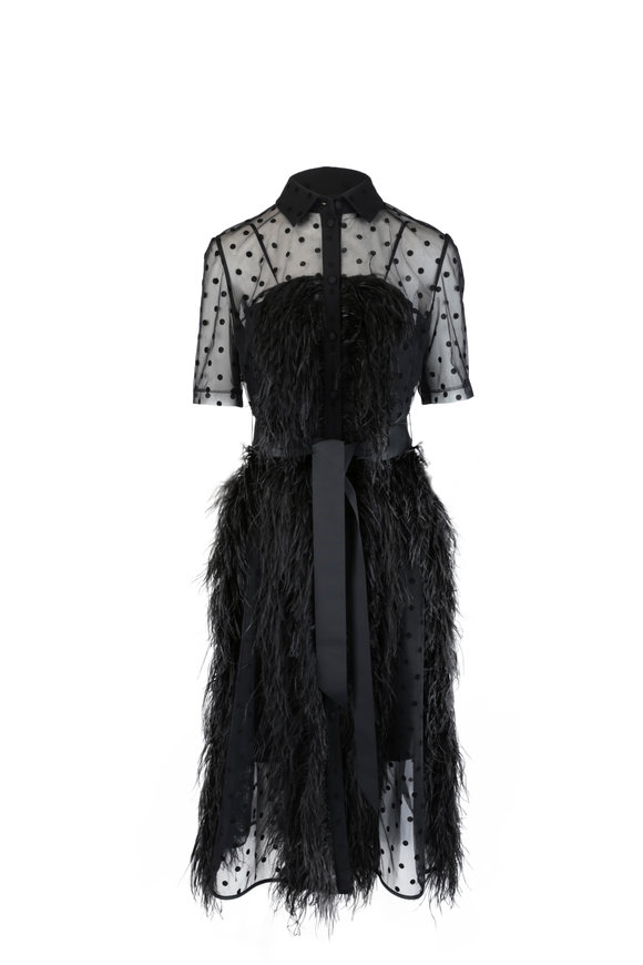 Huishan Zhang Jasmine Black Dot & Feather Dress