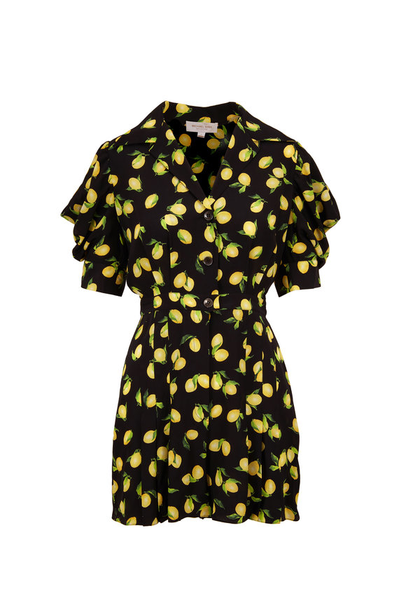 Michael Kors Collection Black Lemon Print Crepe De Chine Romper