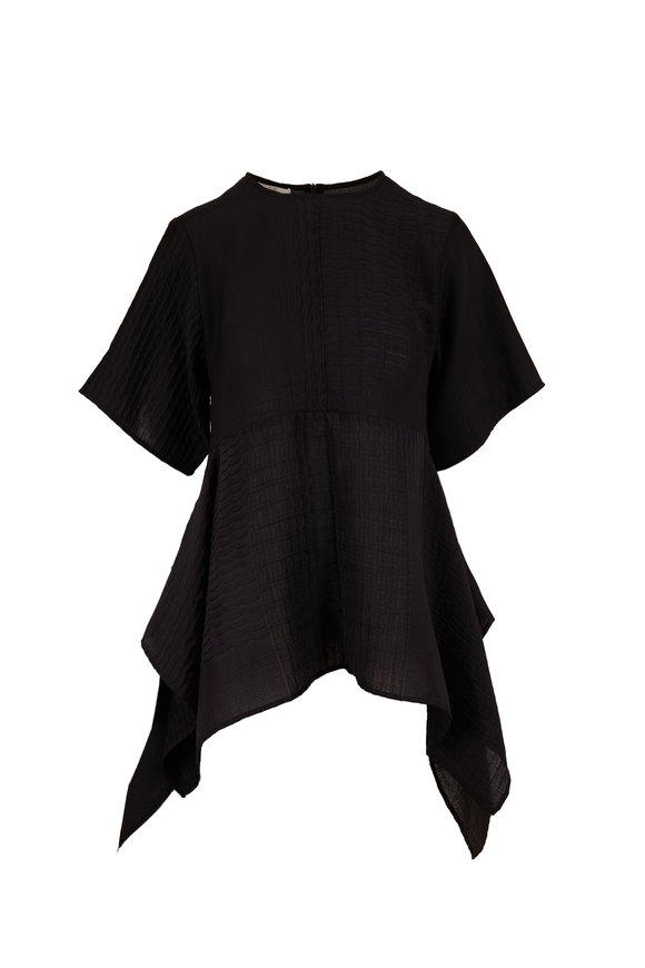 CO Collection Black Smocking Handkerchief Top