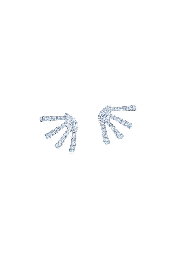 Kwiat 18K White Gold Diamond Fan Stud Earrings