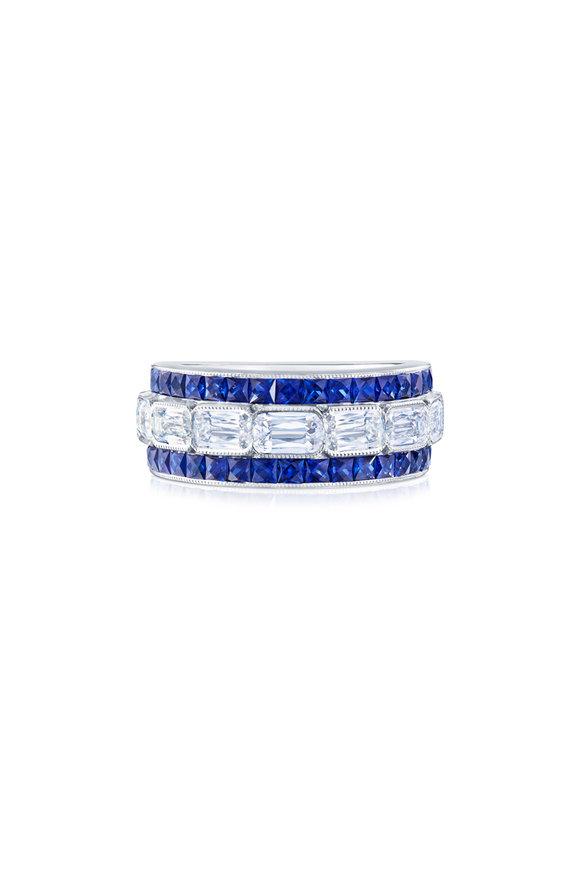 Kwiat Platinum Ashoka Diamond & Sapphire Wedding Band