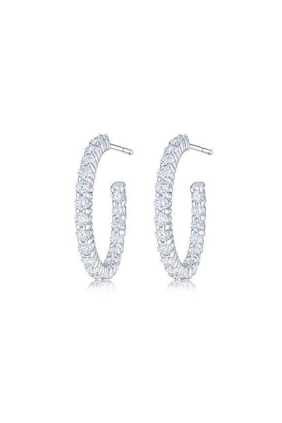 Kwiat 18K White Gold Diamond Oval Hoop Earrings