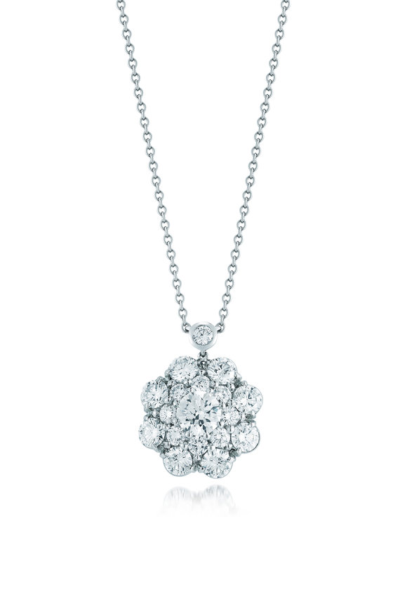 Kwiat 18K White Gold Diamond Cluster Necklace