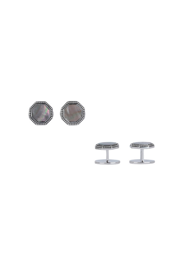 Jan Leslie Octagon Gray Pearl Stud Set