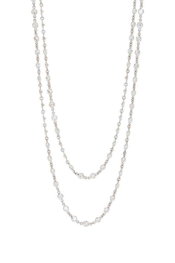 Louis Newman 18K White Diamond By The Yard Necklace