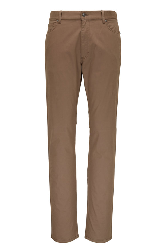 Ermenegildo Zegna Taupe Washed Cotton Five Pocket Pant