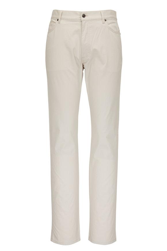 Ermenegildo Zegna Off White Washed Cotton Five Pocket Pant