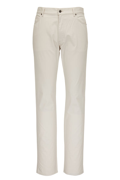 Ermenegildo Zegna - Off White Washed Cotton Five Pocket Pant