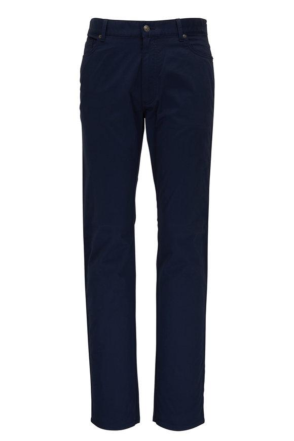 Ermenegildo Zegna Navy Washed Cotton Five Pocket Jean