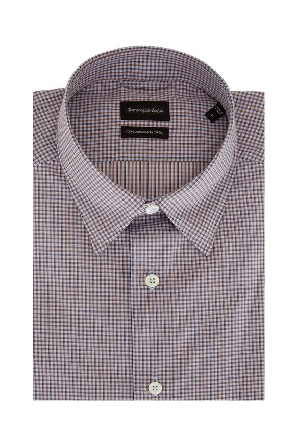 Ermenegildo Zegna Blue & Brown Mini Check Twill Sport Shirt