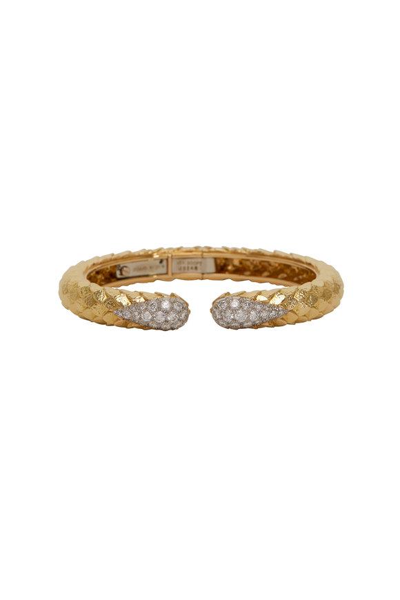 David Webb 18K Gold & Platinum Diamond Lane Bracelet