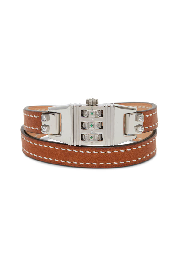 James Banks Stainless Steel & Leather Code Wrap Bracelet