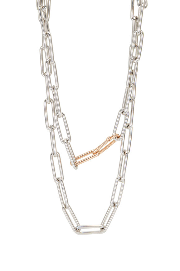 Walters Faith Sterling Silver & Rose Gold Saxon Link Necklace
