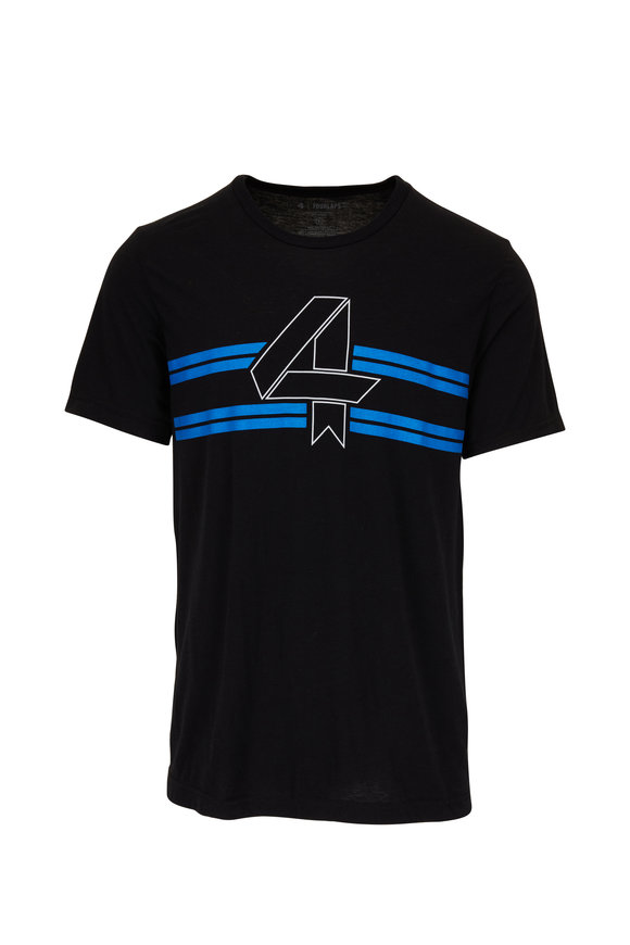 Fourlaps Black 4 Stripe Logo T-Shirt