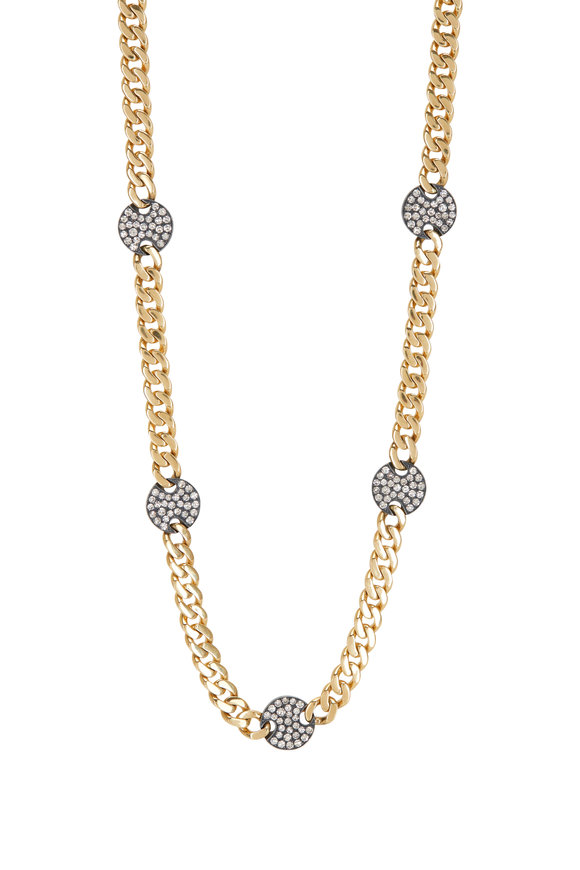 Sylva & Cie 18K Yellow Gold & Silver Disco Diamond Necklace