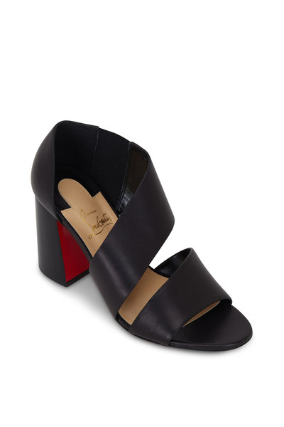 Christian Louboutin - Fibi Black Leather Flared Heel Sandal, 85mm