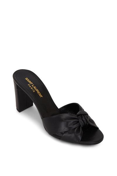 Saint Laurent - Bianca Black Leather Knotted Mule, 75mm