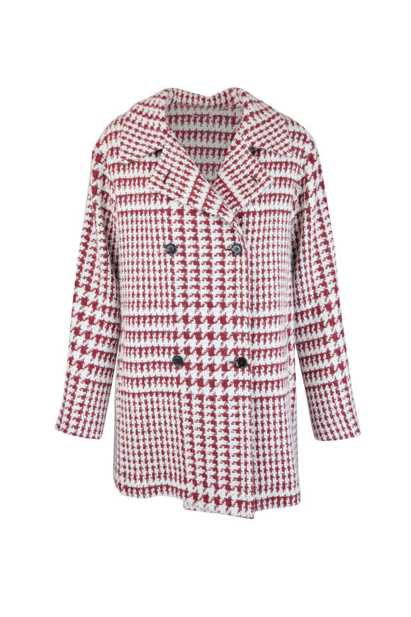 Kiton Red & White Cashmere & Silk Houndstooth Jacket