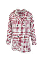 Kiton - Red & White Cashmere & Silk Houndstooth Jacket