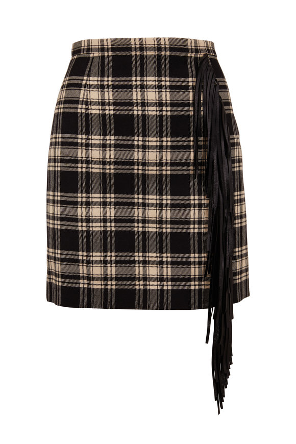 Michael Kors Collection Muslin & Black Tartan Fringe Trim Mini Skirt