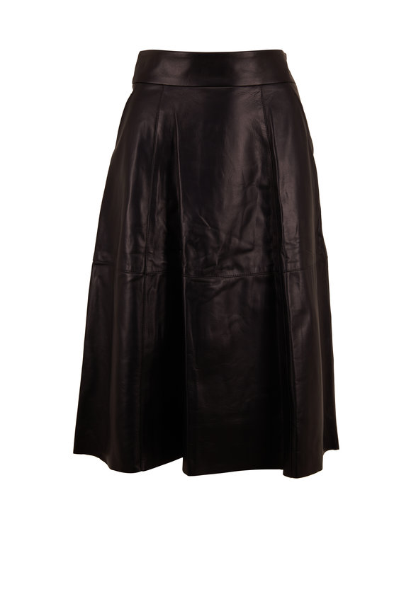 Nili Lotan Elaine Black Leather A-Line Skirt