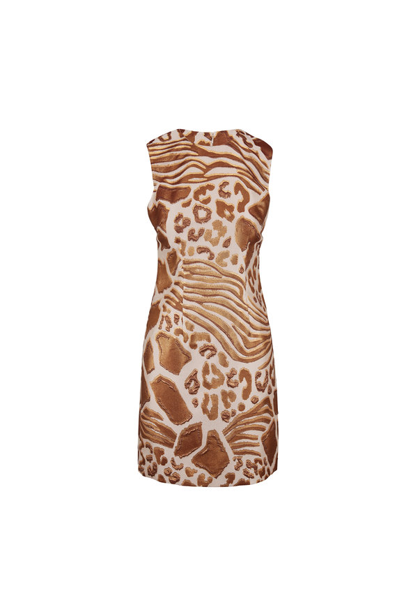 Adam Lippes Savannah Bronze Jacquard Sheath Dress