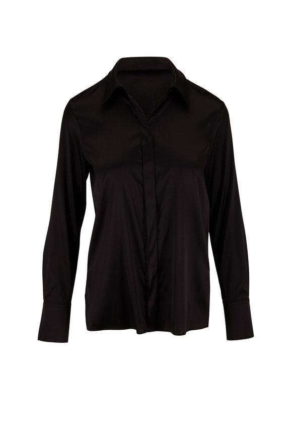 Dorothee Schumacher Sense Of Shine Black Stretch Silk Blouse