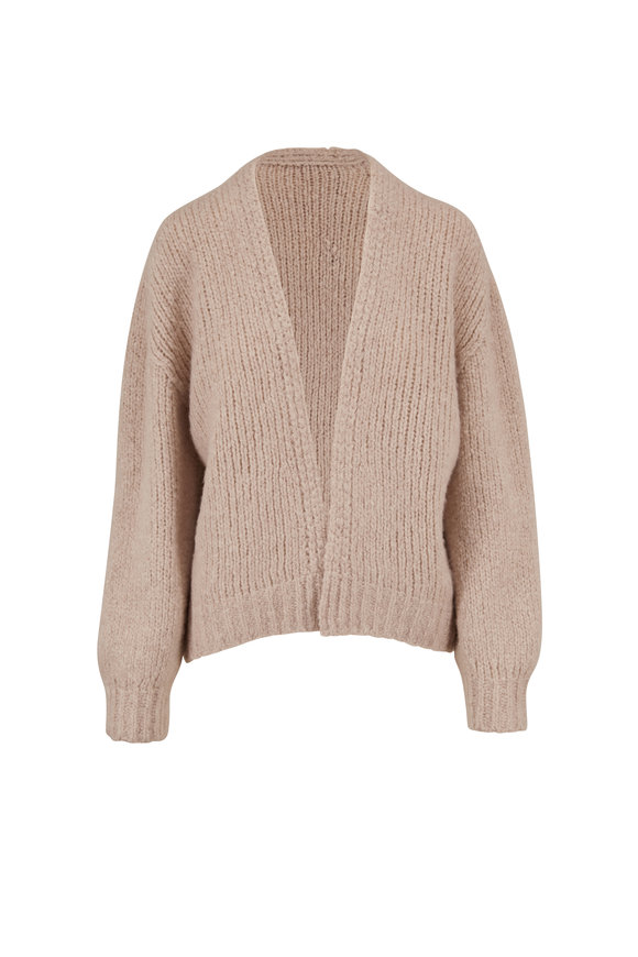 Dorothee Schumacher Oatmeal Cashmere Chunky Knit Open Front Cardigan