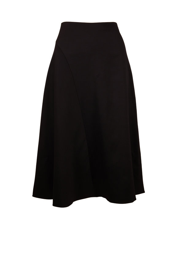 Vince Black Asymmetric Seam Midi Skirt