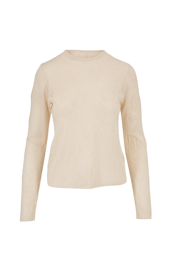 Vince Cream Novelty Sheer Lace Pullover