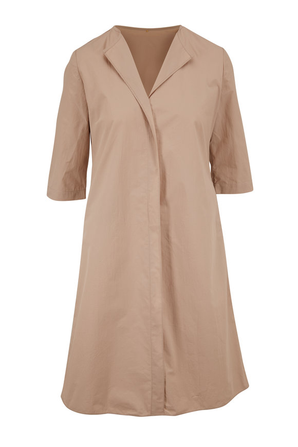 Peter Cohen Ethnic Sand Cotton Three-Quarter Sleeve Dress