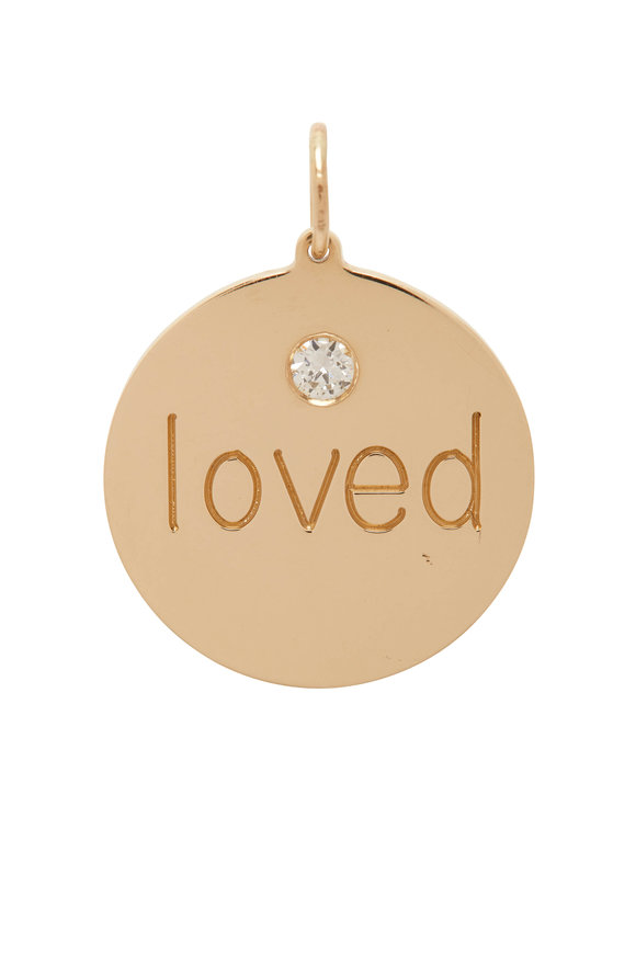 Genevieve Lau Yellow Gold Single Diamond Loved Disc Charm