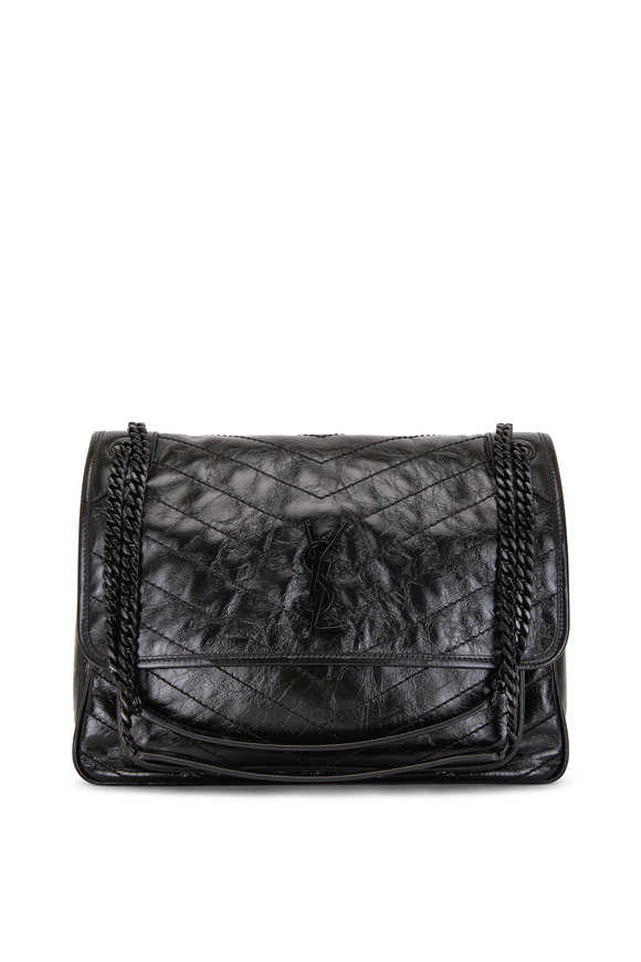 Saint Laurent Niki Black Vintage Leather Large Shoulder Bag