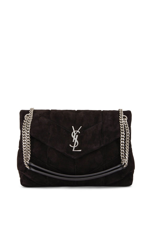 Saint Laurent Loulou Black Quilted Suede Puffer Bag